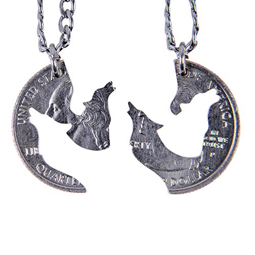 """Marycrafts Set Hand Cut Coin Wolf Necklace Howling Wolves Necklace Interlocking Necklace Jewelry Relationship BFF 20"""""""