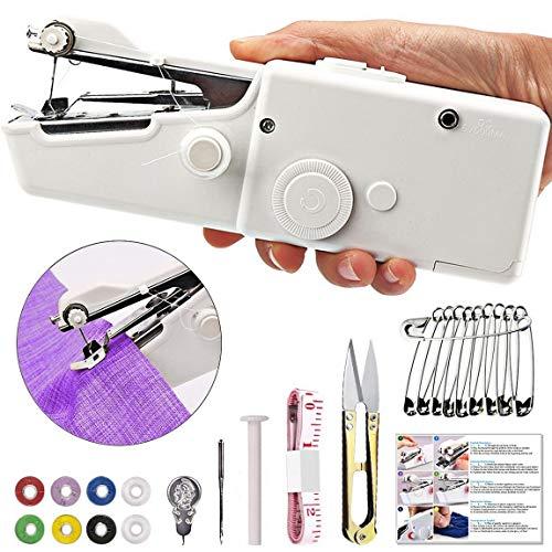 TTMOW Mini Máquina de Coser Portátil Herramienta Manual Portátil Herramienta de Puntada Rápida para Tela, Ropa o Tela de Niños (Blanco)