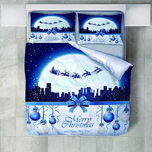 WZSZSA Ropa de Cama Conjunto de 3 Piezas Muñeco de Nieve Blanco Nieve Calle Juego de Funda de edredón Impresa en 3D,Cierre de Cremallera Microfibra,1 Cubierta de Colcha 2 Fundas de Almohada 220x260cm