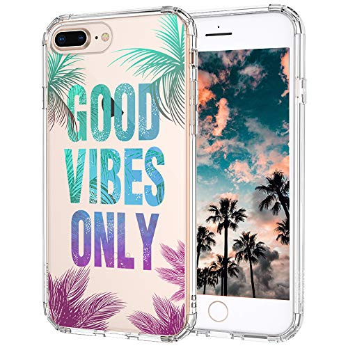 iPhone 7 Plus Case, Clear iPhone 8 Plus Case, MOSNOVO Good Vibes Only Tropica Leaves Quotes Clear Design Transparent Back Case with TPU Bumper for iPhone 7 Plus (2016) / iPhone 8 Plus (2017)