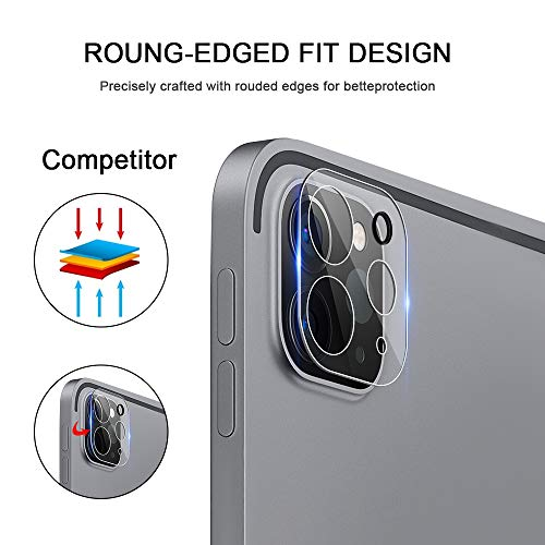 [3-Pack] Camera Lens Screen Protector for iPad Pro 12.9/iPad Pro 11 2020, Anti-Scratch, Anti-Fingerprint, No-Bubble 9H Hardness Tempered Glass for iPad Pro 2020