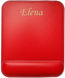 Almohadilla de cuero sintético de ratón personalizado con el texto: Elena (nombre de pila/apellido/apodo)