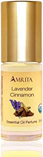 AMRITA Aromatherapy: Lavender - Cinnamon Essential Oil Perfume - USDA Certified Organic & Alcohol-Free - Blended with Premium Therapeutic Quality Essential Oils - Size: 5ML
