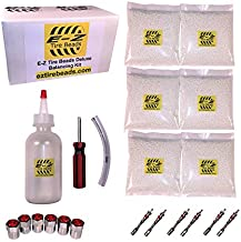 E-Z Tire Balance Beads Deluxe Kit Dually Truck 8 oz Six-Pack (6 Bags of 8 oz Balancing Beads) 48 Ounces Total, Applicator Kit, Filtered Valve Cores, Chrome Caps