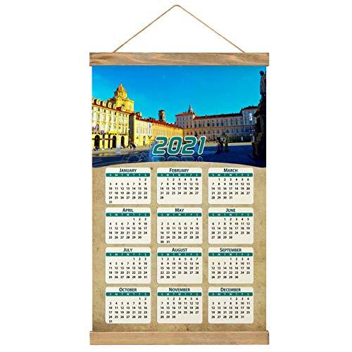 Italia Plaza San Carlo Turín Calendario de pared 2021 12 meses Lienzo Madera 20.4 'x 13.1' GL-Italy-3259