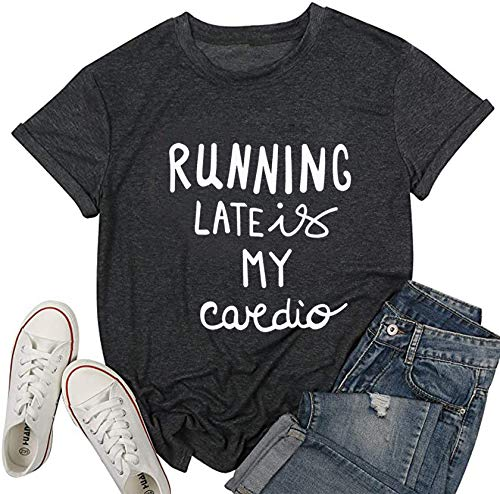 LONBANSTR Running Late is My Cardio Funny Letter Print T-Shirt Casual Short Sleeve Top (Medium) Black