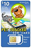 SpeedTalk Mobile $10 PET GPS Tracker SIM Card   3 in 1-4G LTE   for Dog/CAT Tracking and Activity Devices - Canada and Mexico Roaming