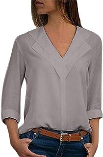 d18e08688cd3c JURTEE Damen Herbst Oberteile Mode Chiffon Solide T-Shirt Büro Einfach  Rollenhülle Bluse Tops