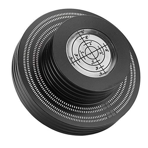 SHYEKYO Estabilizador de Peso para Discos de Vinilo LP, Abrazadera de Disco Giratoria, Dos Colores, 33 RPM / 45 RPM, Abrazaderas Resistentes de Peso para Mesa Giratoria con Almohadilla de Base(Negro)
