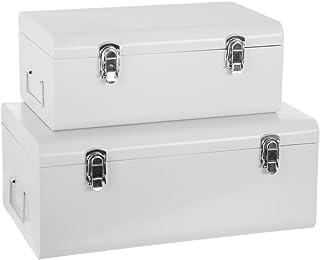 Atmosphera Set de 2 Coffres Malles de Rangement en métal - Esprit Cantine - Coloris Blanc