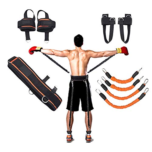 YNXing Strength Training Rope per Boxe, Basket, Scherma Allenamento Resistenza Corda Blu Stretch Cord Tensione Corda Attrezzature per Il Fitness (Kit Arancione)