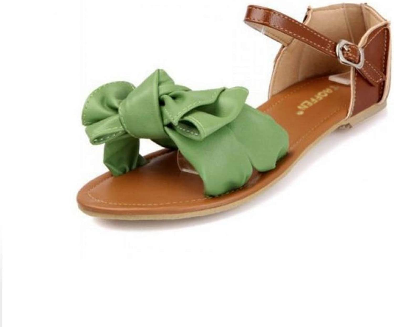 Women Flat Sandals Summer Fashion Ankle Wrap Sandal Lady Large Size shoes Bohemia Bowknot Footwear
