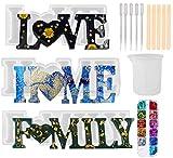 YFWUQI Molde Silicona Resina Epoxi Transparente Love/Home/Family, Moldes para Resina para Fundición con Lentejuelas, Molde de Resina Epoxi Manualidades y Decoración de Mesa