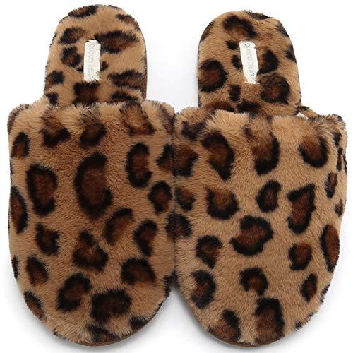 KRILY Zapatillas de casa para Mujer en Invierno Cálido Felpa Mullido Alta Zapatillas De Casa para Mujer Suave y Cómoda Pelusa parecida a un Leopardo Pantuflas Mujer Antideslizante Suela,Marrón,38