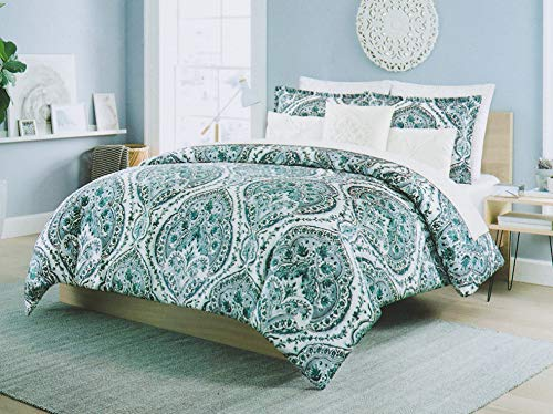 Cynthia Rowley 3pc Full Queen Cotton Duvet Cover Set Paisley Moroccan Medallion Coral Red Blue Taupe (Queen, Teal)