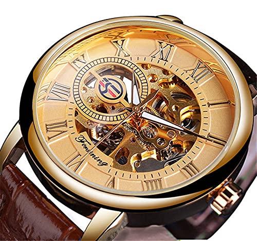 Excellent Reloj para Hombre Mecánico de Lujo Acero Inoxidable Skeleton Automático Mecánico Mecánico Reloj Muñeca Reloj de Cuero Casual,A03