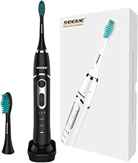 SOGUE S61 Electric Powered Toothbrush Wireless inductive Charging Powerful ultrasonic Cleaning Rechargeable Toothbrush 2 Heads IPX7 Waterproof -Black