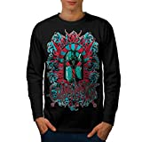HVCMNVB Crusader Knight Mens Long Sleeve T-Shirt, Darkness Graphic Design XL