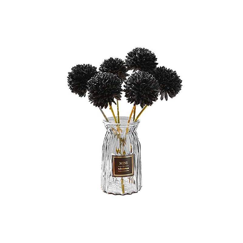 silk flower arrangements svatao artificial chrysanthemum ball flowers- 12pcs silk flower bouquets for wedding present decor for home office house party garden black