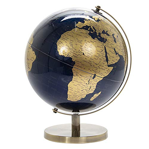 Lesser & Pavey Vintage Rotating Gold and Blue World Globe with Metal Stand for Your Desk/Office, 34cm