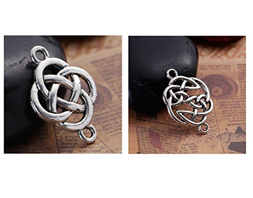Celtic Knot Connector Findings, 56 pc (28 of Each) Silver Tone Pendants