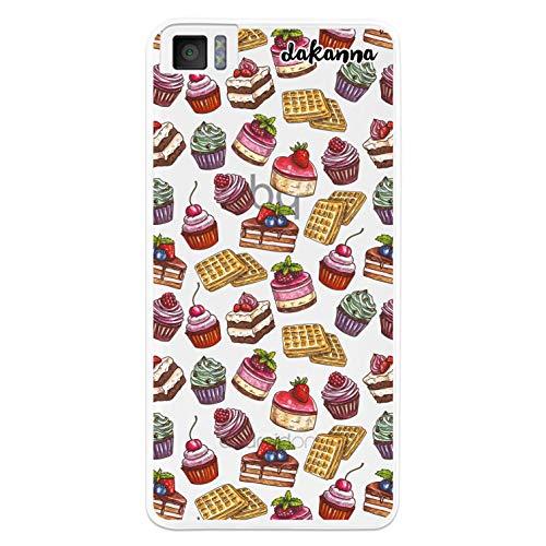 dakanna Kompatibel mit [Bq Aquaris M4.5 - A4.5] Flexible Silikon-Handy-Hülle [Transparenter Hintergr&] Desserts & Süßigkeiten Muster Design, TPU Hülle Cover Schutzhülle für Dein Smartphone
