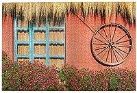 子供のための1000ピースのジグソーパズル大人の納屋ウッドワゴンホイールカントリーハウスエクアドルの赤い壁の窓夏の花わらの屋根DIYパズルフェスティバル家の装飾