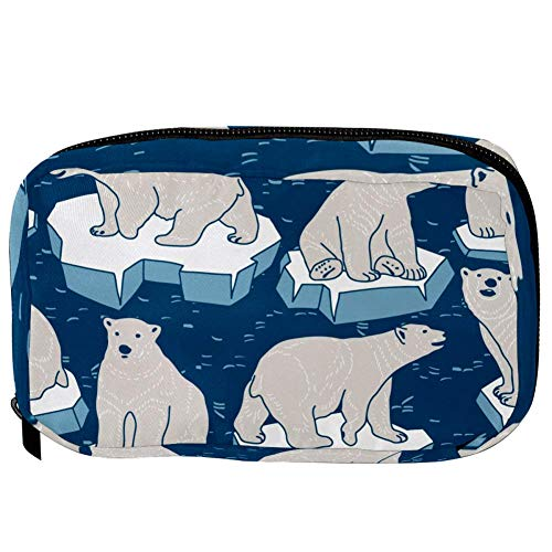 TIZORAX Cosmetic Bags Polar Bears On Ice Handy Toiletry Travel Bag Organizer Makeup Pouch for Women Girls