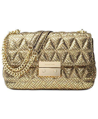 "Gold pyramid-quilted metallic lamb leather with gold-tone exterior hardware. Push-lock closure. Center zip compartment, zip pocket and 4 slip pockets inside. Back slip pocket outside ; 12"" to 20.75""L shoulder strap drop. Polyester lining ;10.5""W x 6...."