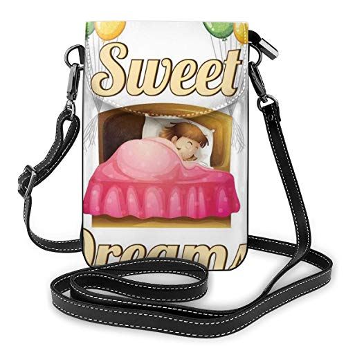 Women Small Cell Phone Purse Crossbody,Cartoon Girl Sleeping In Bed With Colorful Balloons Night Time Illustration