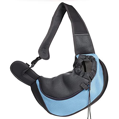 YIBAIYI Portabosques para mascotas para perros pequeños, gatos, portador de cabestrillo para mascotas con correa ajustable, suave y cómoda bolsa de transporte para perros (pequeño, azul lago)