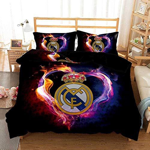 chenyike Funda Nórdica para Cama de Matrimonio 240 x 260 cm con 2 Funda de Almohada 50 x 90 cm Microfibra Juego de Cama 3 Piezas con Cierre de Cremallera - Real Madrid Football Club diseño