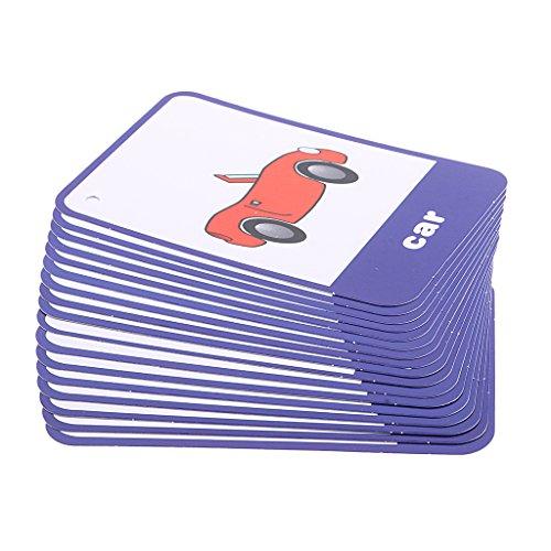 B Blesiya Kids First Words Flash Cards Apprentissage Brighter Cognition Flashcard Set Préscolaire - Carte éducatif - 17pcs