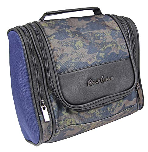 Robert Graham Men's Hanging Kit Toiletry Organizer w/Lots of Pockets Zip-Up Travel Cosmetic Bag, Bold Blue Paisley Lining & Trolley Tubes, 8.5' x 10' x 3.5'
