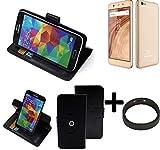 K-S-Trade® Case Schutz Hülle Für Blaupunkt SL02 + Bumper Handyhülle Flipcase Smartphone Cover Handy Schutz Tasche Walletcase Schwarz (1x)