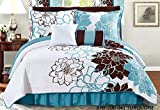 All American Collection New 6pc Flower Printed Reversible Bedspread Set with Dust Ruffle (King Size, Turquoise/Brown)