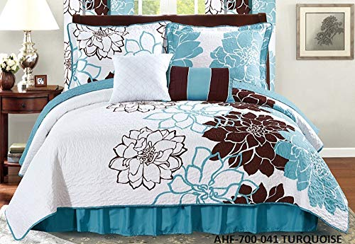 All American Collection New 6pc Flower Printed Reversible Bedspread Set with Dust Ruffle (Queen Size, Turquoise/Brown)