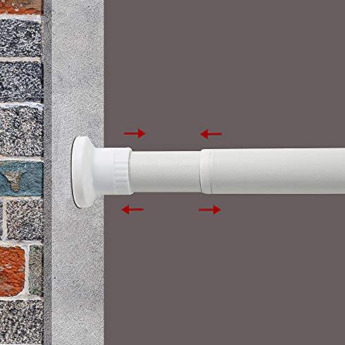 GOLDION Barra de cortina telescópica, barra ducha, extensible, sin agujeros, separador espacios, tensión, alta barras para Windows (blanco, 210-310 cm)