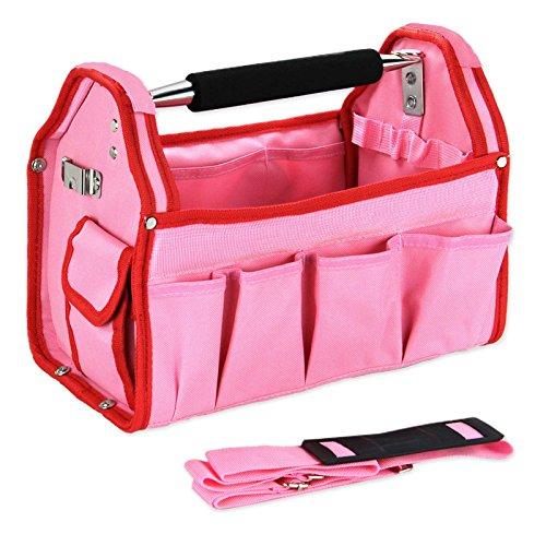 Ladies Multi Tool Storage Caddy Bag - Hard Sided (Pink)