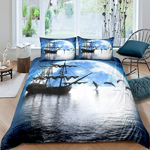 Tbrand Galaxy Moon Bedding Set Nautical Sailboat Duvet Cover For Kids Children Teens Ocean Marine Dolphin Comforter Cover Blue Starry Sky Bedspread Cover Bedroom Decor Quilt Cover 3Pcs Super King
