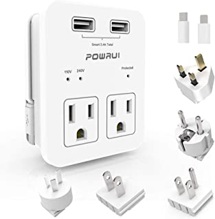 International Power Adapter, POWRUI Surge Protector Travel Adapter with 2 USB Ports & 2 US Outlets, Plug for Europe, UK, China, Australia, Japan, Fit for Laptop, Cell Phones (Not Voltage Converter)