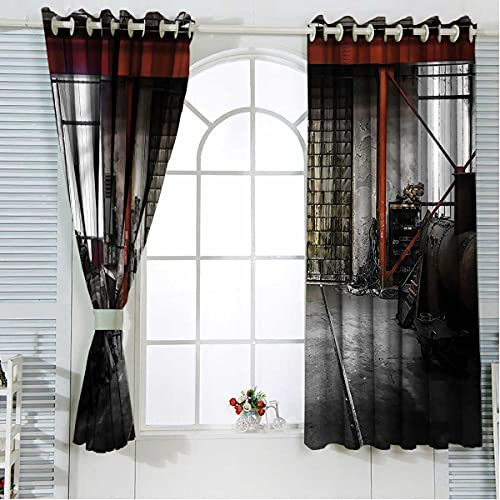 Industrial Noise Cancelling Curtains 96 Inch Length Rusty Storage Blackout Curtains for Sliding Glass Door W84 x H96