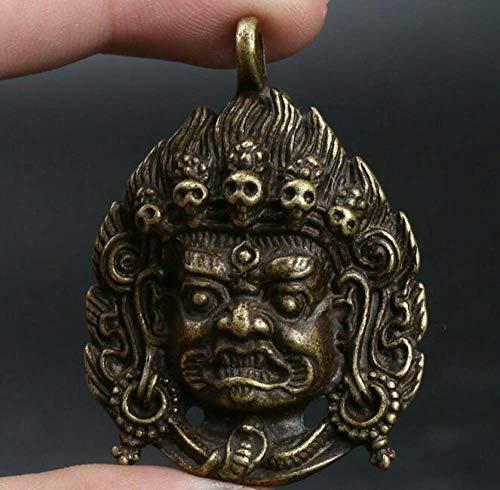 BENGKUI Scultura,Cinese Bronzo Tantra Mahakala Wrathful divinità Amuleto Ciondolo Testa di Buddha Ciondolo Esorcizzare Spiriti Maligni Statua Amuleto Propizio