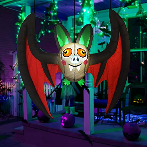 GOOSH 5 FT Halloween Inflatable Outdoor Hanging Bat with Big Wings, Blow Up Yard Decoration Clearance with LED Lights Built-in for Holiday/Party/Yard/Garden