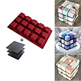 btdeal Silicone Mousse Cake Mold 3D Cube Chocolate Dessert Ice Cream Mold Baking Mould with Holder Display Stand (Red)