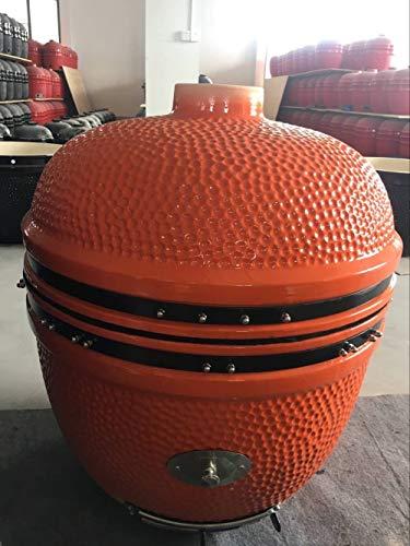 YNNI KAMADO TQ0C25OR Grill, mit Rollwagen und Bambus-Tischen, Orange mit Chip-Futterstation, BBQ, Keramik, Ei, Smoker, XL