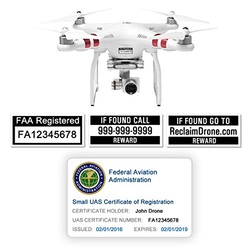 FAA Drone Labels (2 Sets of 3) + FAA UAS Registration ID Card for Hobbyist Pilots