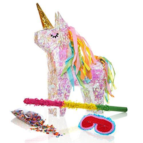 Lumaland Set de piñata Unicornio para Rellenar, Palo Aprox 50 cm, Careta, 50 gr de Confeti Unicornio mágico ca. 40x14x54 cm