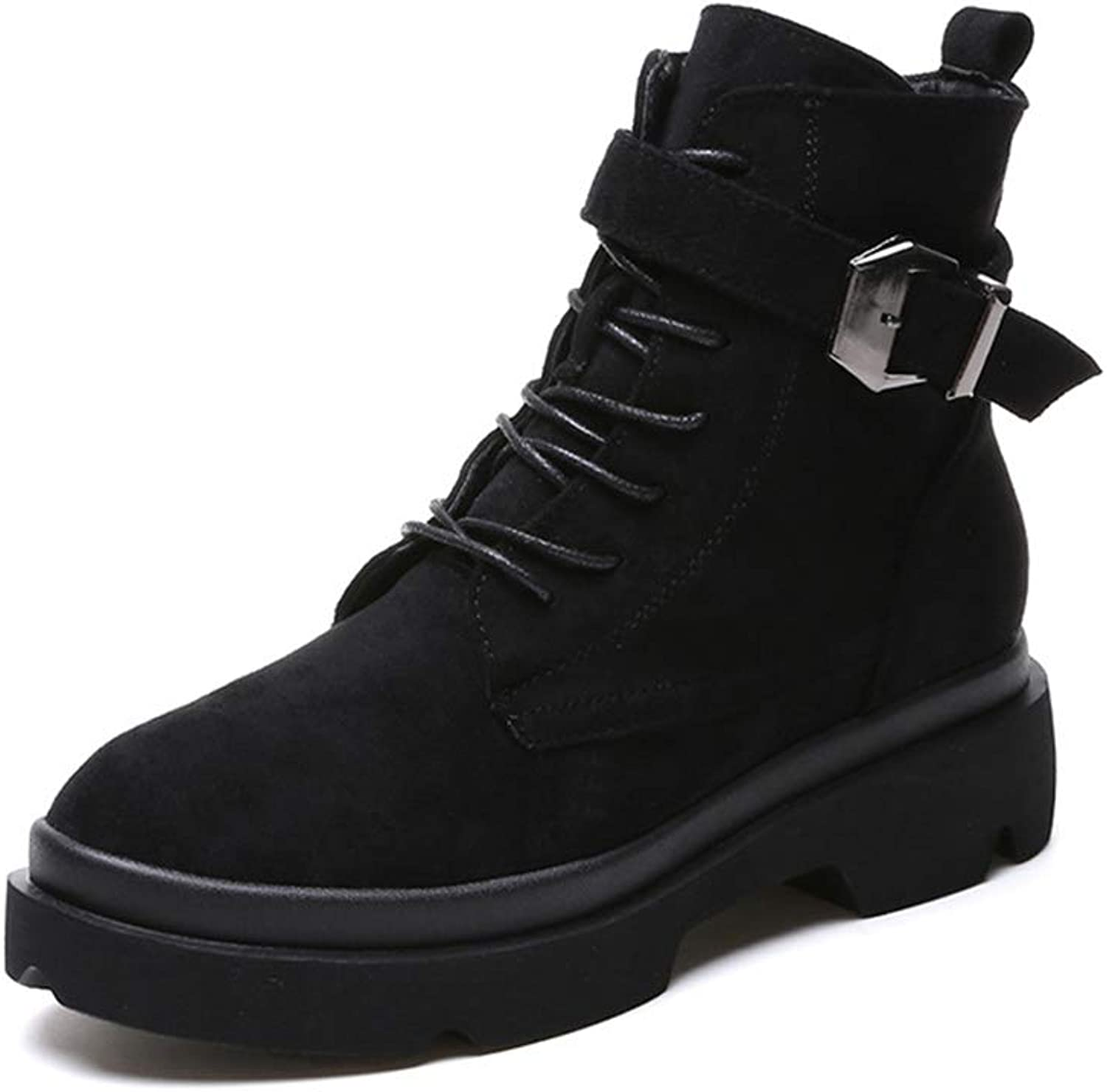 Women's Suede Lace Up Boots Buckle Winter Boots Warm Boots Thick Boots