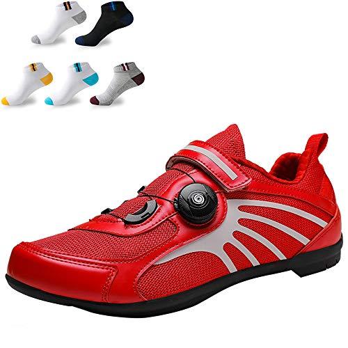 XFQ Zapatillas De Ciclismo para Mujeres, Zapatos De Bicicleta Casuales De Verano Antideslizantes Sin Bloqueo Amortiguación Transpirable Zapatillas De Ciclismo De Carretera,Rojo,36EU
